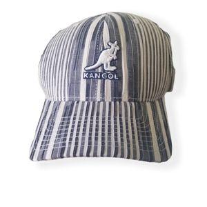 Kangol crinkle stripe flexfit blue and white hat